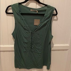 Anthropologie tank top in teal green. Size large.